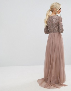 photo 3/4 Sleeve Maxi Dress with Delicate Sequin and Tulle Skirt by Maya Petite, color Mink - Image 2