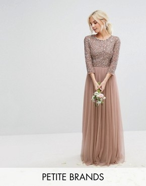 photo 3/4 Sleeve Maxi Dress with Delicate Sequin and Tulle Skirt by Maya Petite, color Mink - Image 1