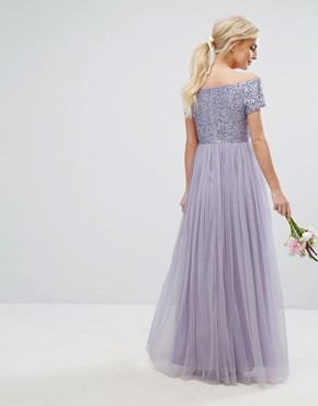 photo Bardot Maxi Dress with Delicate Sequins and Tulle Skirt by Maya Petite, color Lilac - Image 2