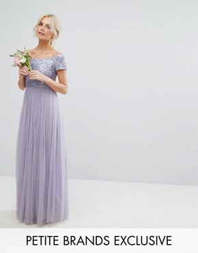 photo Bardot Maxi Dress with Delicate Sequins and Tulle Skirt by Maya Petite, color Lilac - Image 1