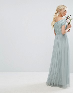 photo Bardot Maxi Dress with Delicate Sequins and Tulle Skirt by Maya Petite, color Mint - Image 2