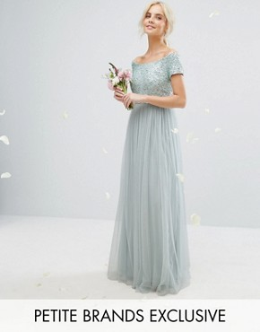 photo Bardot Maxi Dress with Delicate Sequins and Tulle Skirt by Maya Petite, color Mint - Image 1