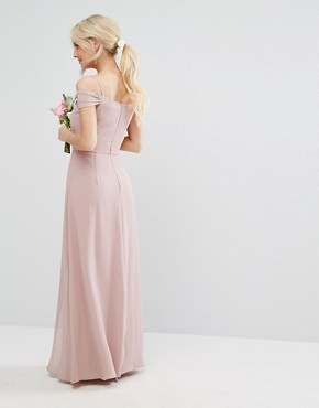 photo Cold Shoulder Embellished Maxi Dress by TFNC Petite WEDDING, color Mauve - Image 2