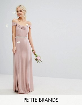 photo Cold Shoulder Embellished Maxi Dress by TFNC Petite WEDDING, color Mauve - Image 1