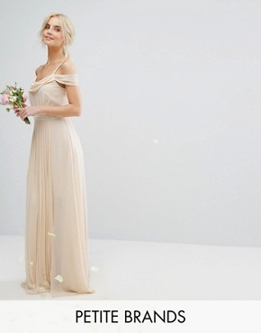 photo Cold Shoulder Embellished Maxi Dress by TFNC Petite WEDDING, color Ecru - Image 1
