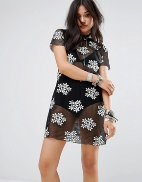 photo T-Shirt Dress in Embroidered Daisy Mesh by Glamorous, color Black - Image 1