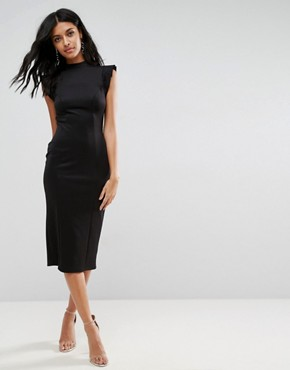 photo Midi High Neck Pencil Dress with Cut Out Back and Shoulder Detail by ASOS, color Black - Image 2