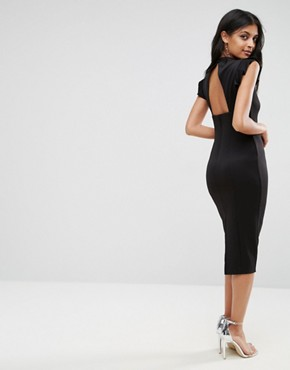 photo Midi High Neck Pencil Dress with Cut Out Back and Shoulder Detail by ASOS, color Black - Image 1