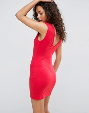 photo Mini Dress with Low Back and Shoulder Pads by ASOS, color Red - Image 2