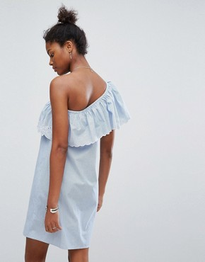 photo Crochet One Shoulder Dress by New Look, color Blue Pattern - Image 2
