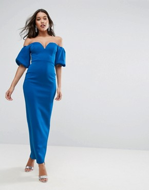 photo Scuba Puff Sleeve Bardot Maxi Dress by ASOS, color Cobalt Blue - Image 1