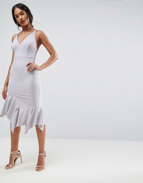 photo Crepe Cross Back Step Hem Midi Dress by ASOS, color Lilac - Image 2