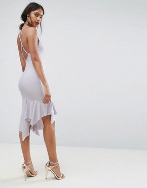 photo Crepe Cross Back Step Hem Midi Dress by ASOS, color Lilac - Image 1