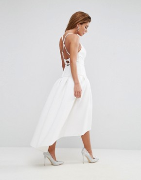photo Scuba Corset Drop Waist Midi Dress by ASOS PREMIUM, color White - Image 2