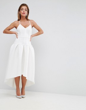 photo Scuba Corset Drop Waist Midi Dress by ASOS PREMIUM, color White - Image 1