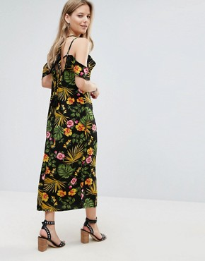 photo Halterneck Cold Shoulder Tropical Print Dress by Vero Moda, color Multi - Image 2