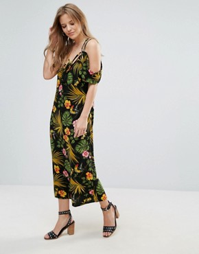 photo Halterneck Cold Shoulder Tropical Print Dress by Vero Moda, color Multi - Image 1