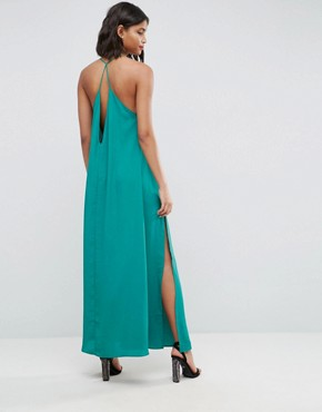 photo Deep Plunge V-Back Strappy Maxi Dress by ASOS, color Green - Image 2