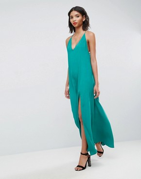 photo Deep Plunge V-Back Strappy Maxi Dress by ASOS, color Green - Image 1