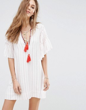 photo Embroidered Neck Opening Mini Dress by Moon River, color White Multi - Image 1