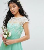 photo Full Midi Dress with Metallic Embroidery by Chi Chi London, color Green - Image 3