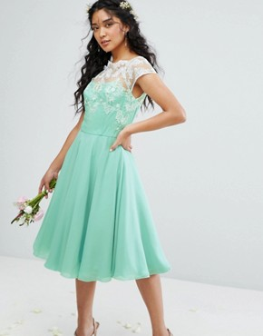 photo Full Midi Dress with Metallic Embroidery by Chi Chi London, color Green - Image 1