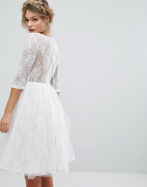 photo Bridal Lace Midi Dress with 3D Applique by Chi Chi London, color White - Image 2
