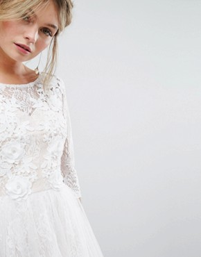photo Bridal Lace Midi Dress with 3D Applique by Chi Chi London, color White - Image 3
