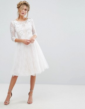 photo Bridal Lace Midi Dress with 3D Applique by Chi Chi London, color White - Image 4