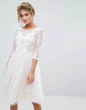 photo Bridal Lace Midi Dress with 3D Applique by Chi Chi London, color White - Image 1
