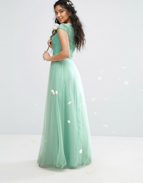 photo Lace Maxi Dress with Tulle Skirt and Cap Sleeve by Chi Chi London Premium, color Green - Image 2
