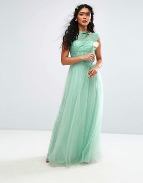 photo Lace Maxi Dress with Tulle Skirt and Cap Sleeve by Chi Chi London Premium, color Green - Image 1