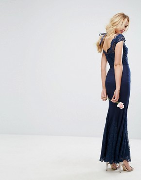photo Lace Maxi Dress with Fishtail by Chi Chi London Premium, color Navy - Image 2
