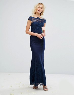photo Lace Maxi Dress with Fishtail by Chi Chi London Premium, color Navy - Image 1