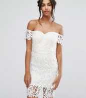 photo Lace Bandeau Midi Dress with Sweetheart Neck by Chi Chi London, color White - Image 1