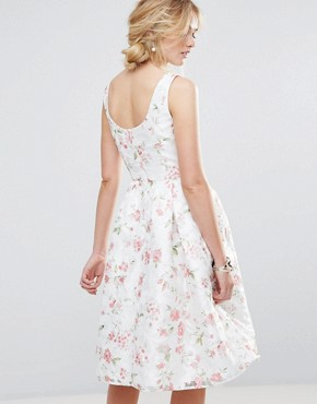 photo Structured Full Midi Dress in Floral by Chi Chi London, color Multi White Floral - Image 2