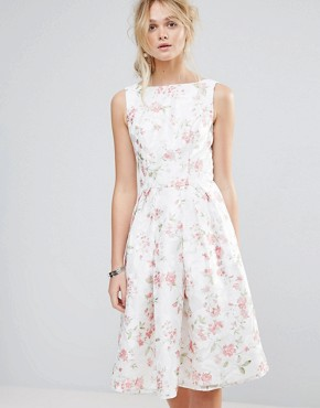 photo Structured Full Midi Dress in Floral by Chi Chi London, color Multi White Floral - Image 1