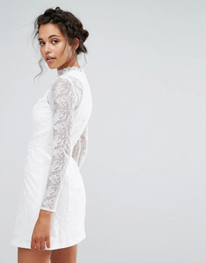 photo Lace A-Line Mini Dress with Long Sleeves by Chi Chi London, color White - Image 2