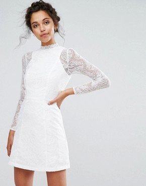 photo Lace A-Line Mini Dress with Long Sleeves by Chi Chi London, color White - Image 1