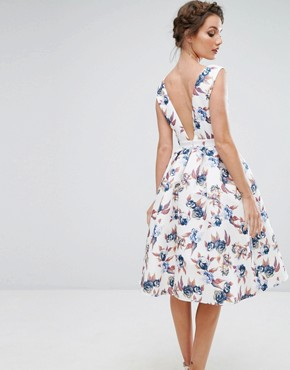 photo Midi Dress with V-Neck and Full Circle Skirt by Chi Chi London, color Multi Print - Image 2