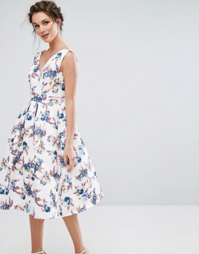 photo Midi Dress with V-Neck and Full Circle Skirt by Chi Chi London, color Multi Print - Image 1