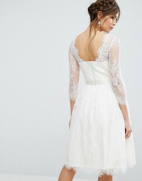 photo Lace Overlay Dress by Chi Chi London, color Ivory - Image 2