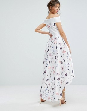 photo Floral Dress with Extreme High Low by Chi Chi London, color White Base Floral - Image 2