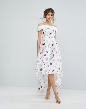 photo Floral Dress with Extreme High Low by Chi Chi London, color White Base Floral - Image 1