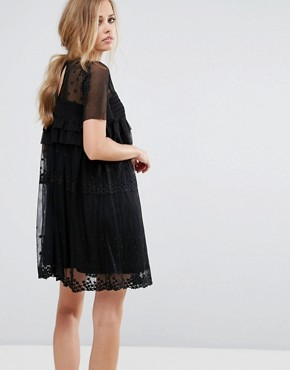 photo Smock Dress with Stars by Lost Ink, color Black - Image 2