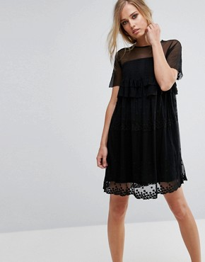 photo Smock Dress with Stars by Lost Ink, color Black - Image 1
