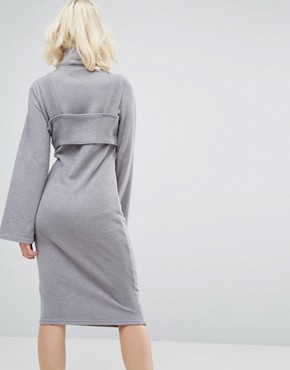 photo Bodycon Dress in High Neck with Bralette by Lost Ink, color Grey - Image 2
