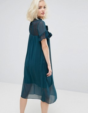 photo Shift Dress with Sheer Panel and Ruffle by Lost Ink, color Teal - Image 2