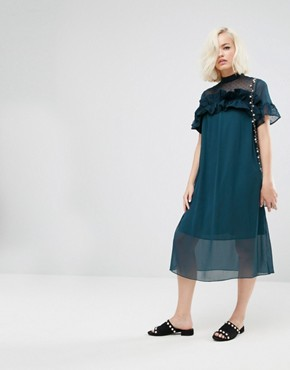 photo Shift Dress with Sheer Panel and Ruffle by Lost Ink, color Teal - Image 1