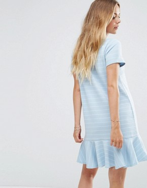 photo Ruffle Hem Striped T-Shirt Dress by Vila, color Light Blue - Image 2